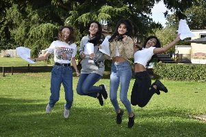GCSE Results Day 2019. Some  of the Peterborough School's top students  Chiara Bellinzona,  Asha Sampat, Parina  Dodhia and Anika Sampat EMN-190822-113819009