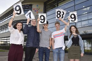 GCSE Results Day 2019.  Thomas Deacon Academy students  Zara Sharpe-Dai, Dominic Johns, Ollie Hancock, Luke Welch, Amber Moore EMN-190822-113708009