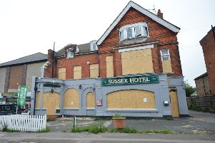 The Sussex Hotel, in London Road, has been boarded up SUS-190626-104920001