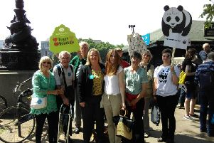Lisa Forbes meeting her constituents at the mass lobby on climate change at Parliament in June.