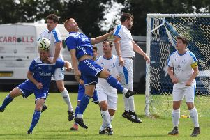 Action from today's game. Picture by Justin Lycett