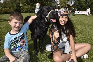 Central Park fun day. Peterborough   Dog show entrant Bailey with owners  Blake and Allysha Buxton EMN-190831-181839009