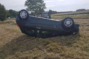 Hazel's car ended up on its roof