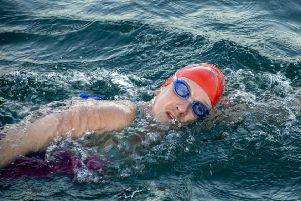 Amy Mellow swimming in the Channel. Copyright Shaun Woodward 2019