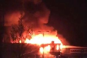 The fire at Toys R Us. Photo: Toby Wood