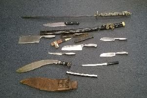 Blades handed in to Cambridgeshire Police as part of a previous knife amnesty