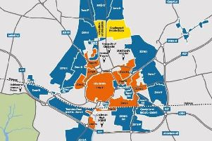 Proposed Chichester Parking Management Plan. WSCC consultation 01-03-19. Blue areas mark new controlled parking zones. Orange areas are existing CPZs. SUS-190403-112006001