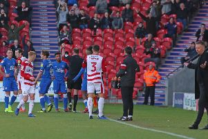 Posh full-back Tyler Denton is sent off at Doncaster last season.