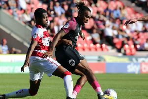 Ivan Toney of Peterborough United in action against Doncaster Rovers. Photo: Joe Dent/theposh.com.