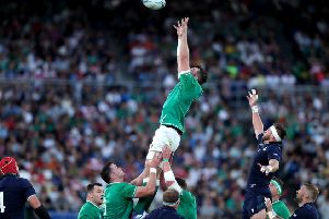 Ireland's Peter O'Mahony wins a line-out.