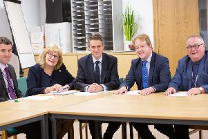 Peterborough City Council service director for education Jonathan Lewis, cabinet member for education Cllr Lynne Ayres, Gavin Williamson, Paul Bristow and council deputy leader Cllr Wayne Fitzgerald at the Town Hall