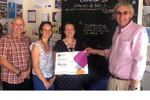 Tim Lucy, Representative of the Masonic Charitable Foundation, Beth Green, Executive Director, Centre 33, Meg Platt, Director'of Operations, Centre 33 and Gerry Crawford, Northamptonshire and Huntingdonshire Freemasons.