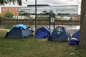 The tents on the embankment