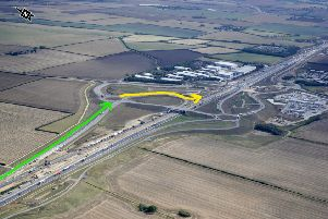 The green line is the new local access road which will be used as an exit slip road. The yellow line is the new entry. Photo: Highways England
