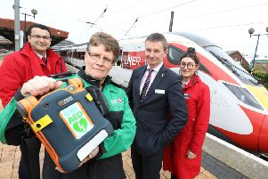 Hakan Inal from LNER, Tracie Colbridge from St John Ambulance and Chris Cunningham and Frankie Lewis from LNER