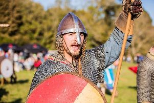 Battle of Hastings re-enactment. Photo courtesy of English Heritage. SUS-190410-105835001