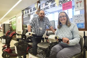 Shopmobility volunteers Roy Harris and Molly Wright at Queensgate EMN-190928-181517009
