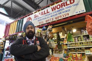 Param Singh at his stall in the market