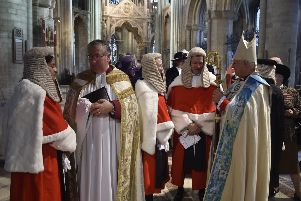 The High Sheriff's Justice Service at Peterborough Cathedral.   The Hon Mrs Justice Cheema-Grubb speaking to the gathered guests EMN-190610-201016009