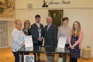 The Mayor of Causeway Coast and Glens Borough Council Councillor Sean Bateson pictured at a new exhibition in Ballymoney Museum celebrating the life of George Shiels with Valerie Stewart, Elaine Lee, Mac Pollock from Ballymoney Drama Festival, Yvonne Simpson and Jamie Austin, Museum Officer, Causeway Coast and Glens Borough Council at the opening of the George Shiels exhibition in Ballymoney Museum