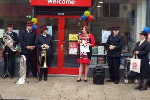 The Mayor, Cllr Maureen Morrow, officially opening the Salvation Army premises on Larne Main Street.