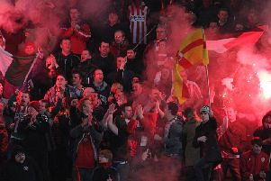Derry City fans pictured at the 2012 Setanta Sports Cup Quarter-Final 1st Leg against Linfield at Windsor Park.
