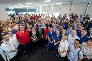 Staff at Royal Papworth Hospital celebrate their 'outstanding' status. Picture: Keith Heppell