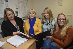 Jane Baillie, Pat Foeniger, Sarah Pilbeam and Julie Fernandez at Disability Peterborough's office