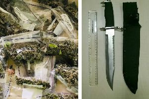 Drugs and a knife seized by police during the week of action