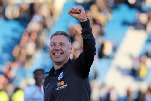 Posh boss Darren Ferguson celebrates the win in his 400th game in charge at Gillingham. Photo: Joe Dent/theposh.com.