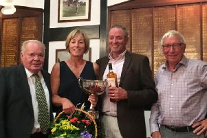 Married Couples trophy winners Wendy and Chris Johnson with Norman Birkett and Derek Day