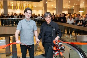 Daevid Mcakie and Julie Nolan cut the ribbon opening the new floor at John Lewis.  Queensgate, Peterborough Thursday 24 October 2019.  Picture by Terry Harris. THA