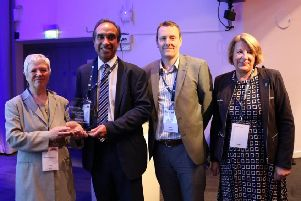 Dr Amrit Takhar (second from left) with award presenters: Prof Amanda Howe, Dr Nicholas Thomas and Prof Carolyn Chew-Graham