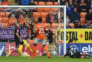 Armand Gnanduillet of Blackpool scores his sides second goal of the game against Posh. Photo: Joe Dent/theposh.com.