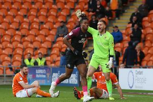 Ivan Toney celebrates his goal for Posh at Blackpool.