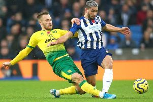 Brighton and Hove Albion striker Neal Maupay makes life difficult for the Norwich defence at the Amex last Saturday