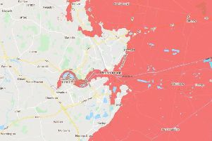 A map showing Peterborough's sea level in 2100.