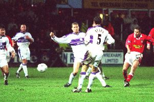 Darren Ferguson scores the winner for Wrexham against Middlesborough in the FA Cup