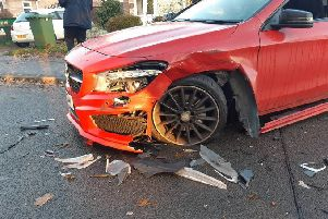 The crash in Ledbury Road. Photo: Cambridgeshire police