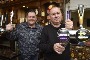 Dal Hicks (left) and Peter Turnbull, owner of The Crown, which is still open in Lincoln Road