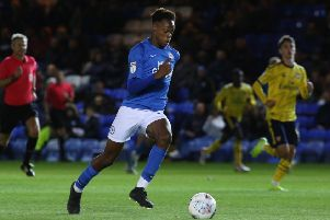 Ricky-Jade Jones in action for Posh against Arsenal Under 21s.