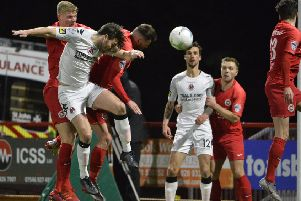 Action from Larne's scoreless draw at home to Crusaders in the Danske Bank Premiership. Pic by INPHO.