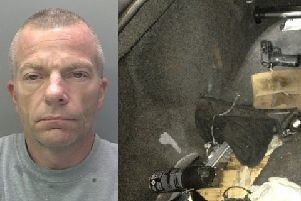 Clifford Mills (left) and a gun found by police in a car he was driving