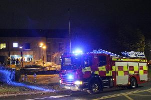 A fire engine outside Thorpe Wood Police Station. Photo: Terry Harris