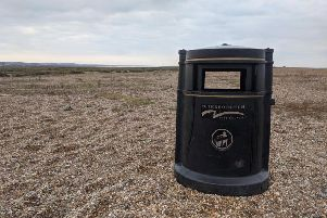 The Peterborough bin which ended up on the beach. Photo: National Trust - Norfolk Coast