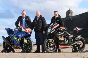 North West 200 Event Director Mervyn Whyte with William McCausland of fonaCAB and Gary Nicholl of Nicholl Oils on Downhill beach as a new three-year sponsorship partnership was announced until 2022.