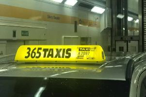 The taxi pictured on the Euro Tunnel.
