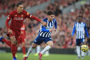 Brighton and hove Albion striker Aaron Connolly enjoyed his tussle with Liverpool defender Virgil van Dijk