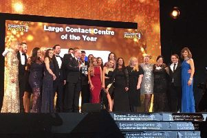 The BGLGroup team at the presentation for the large contact centre of the year award.