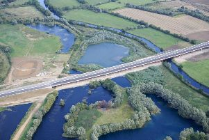 The 750m long viaduct carries the new A14 over the River Great Ouse